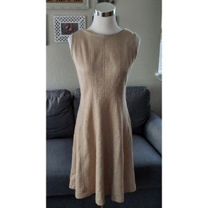 Shimmery gold fit and flare dress